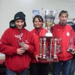 Candy Scordia et les frères Stéphant champions mixte de pétanque CD56 2010