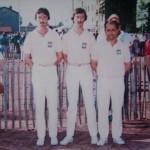 Les frères Stéphant et Chocolat au France de Pétanque Triplette 1987